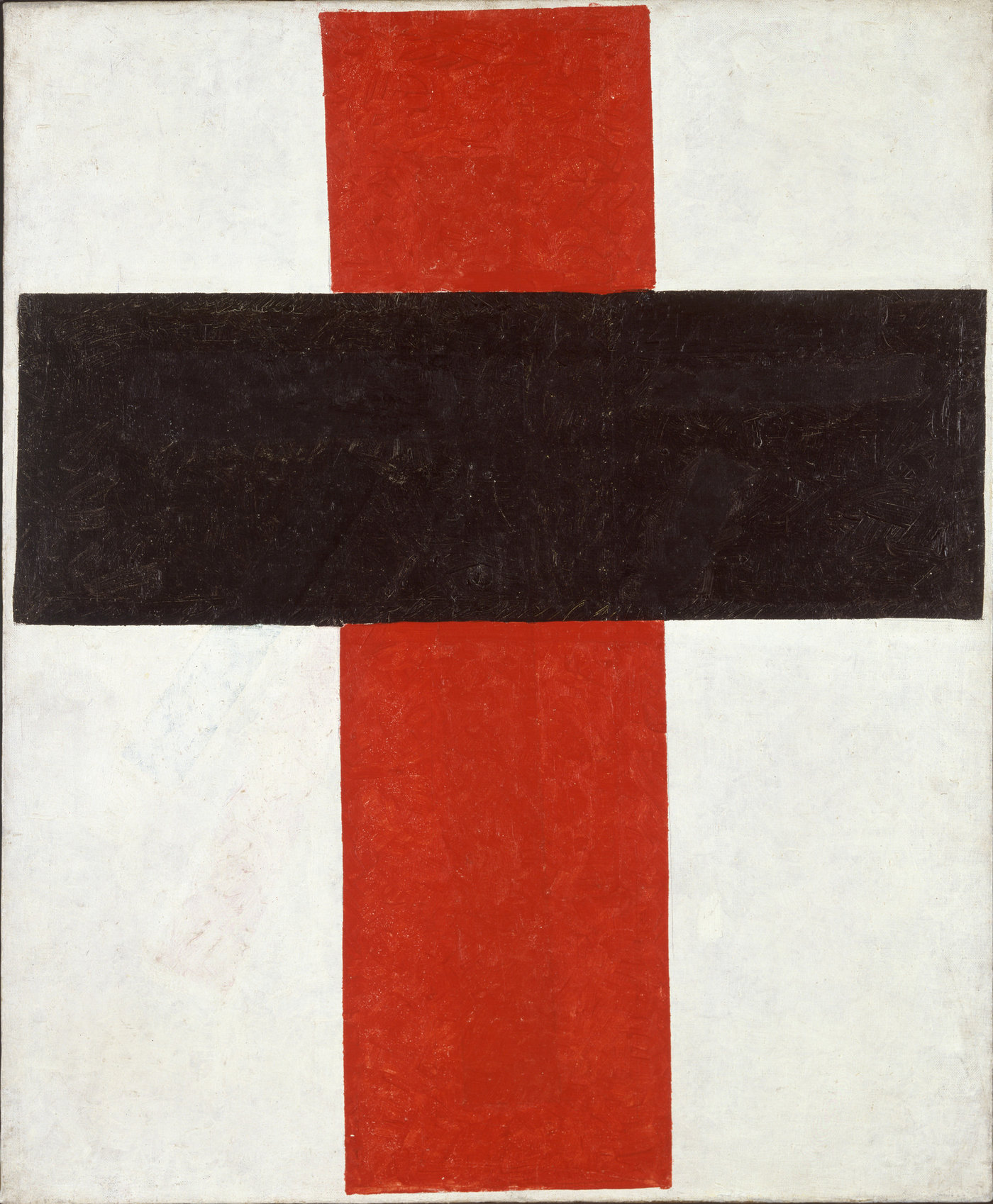 Medium kazimir malevich 2c hieratic suprematist cross  large cross in black over red on white  2c 1920 1921 tiff