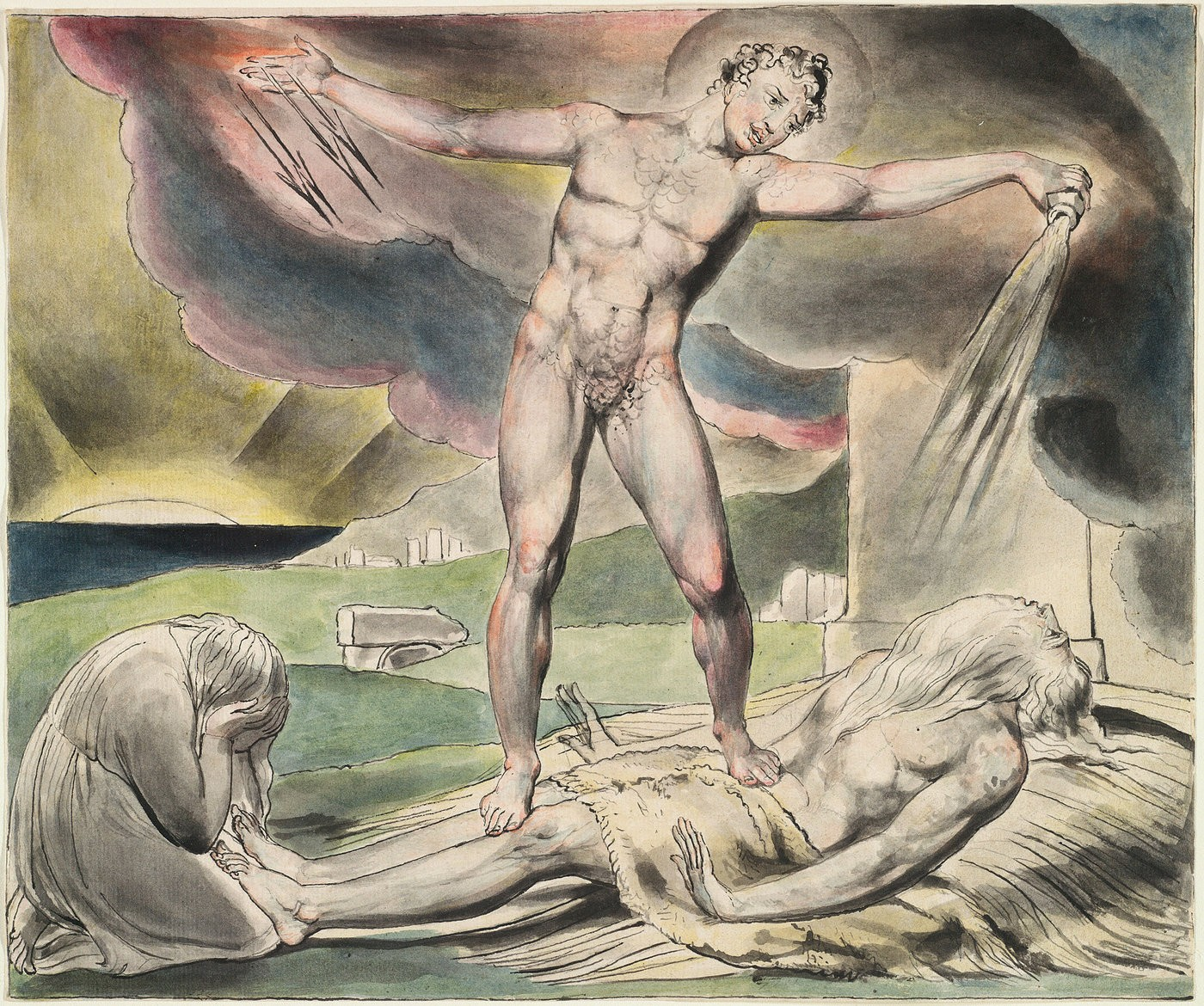 Medium blake book of job the examination of job  satan pours on the plagues of job  by william blake. illustration was made c. 1821 credit the morgan library