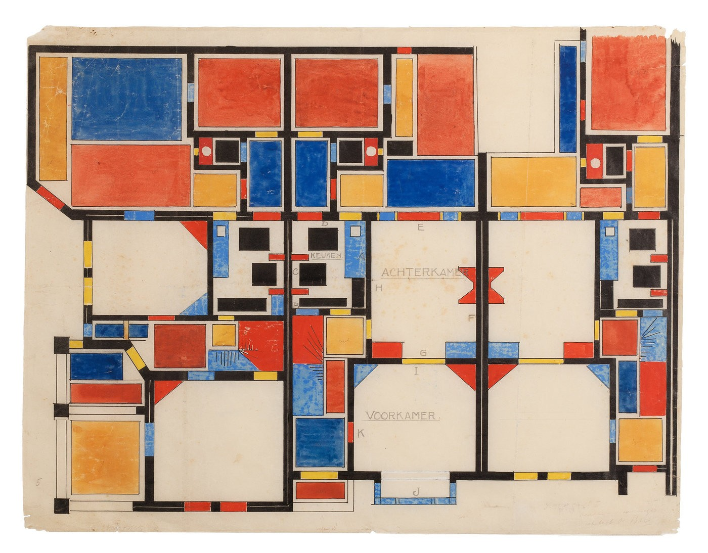 Medium fig. 3 colour composition ii for ground floor  theo van doesburg  1921.  museum dr8888