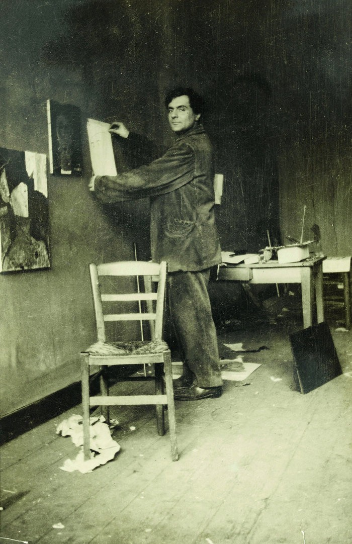 Small modigliani in his studio