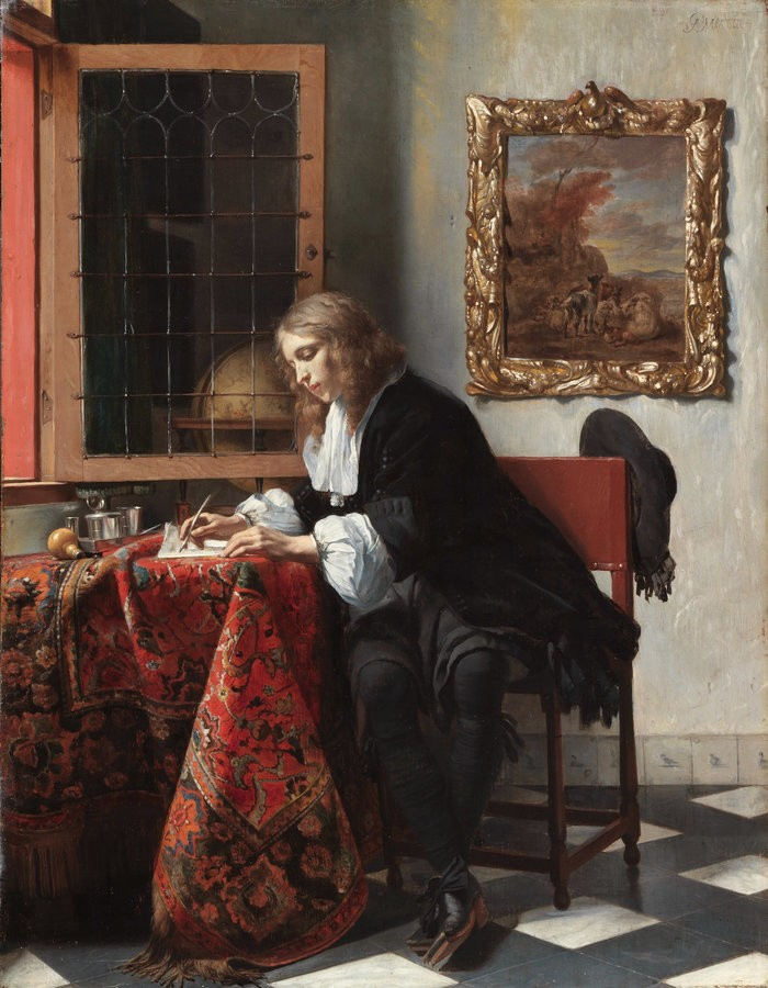 Small man writing a letter by gabrie%cc%88l metsu