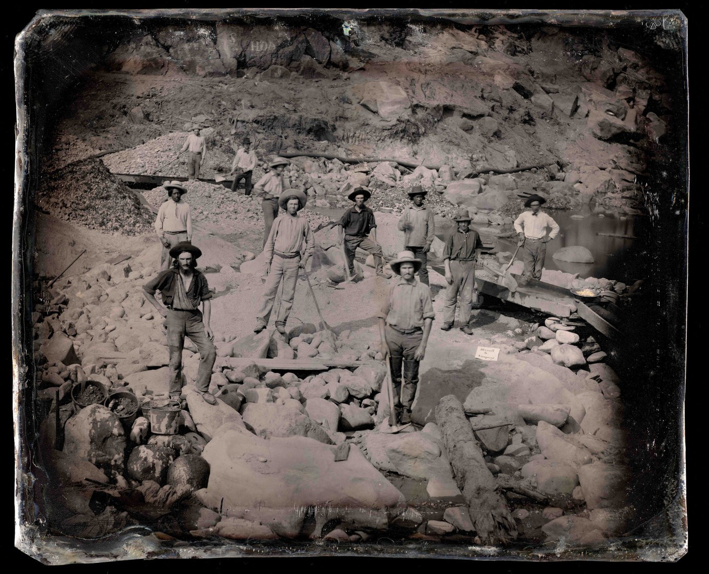 Medium outdoor view of miners from sterrett   company  1852 c unknown