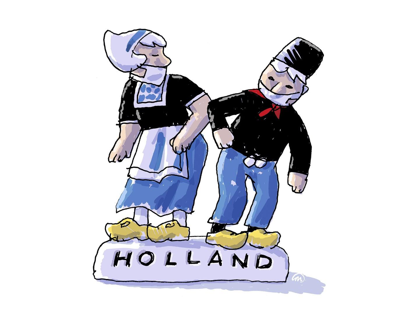 Cartoon van Hollandse boer en boerin
